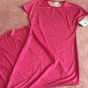 Lularoe pink polka dot Maria maxi dress xs
